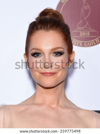 LOS ANGELES - FEB 14:  Darby Stanchfield arrives to the Make-Up Artists & Hair Stylists Guild Awards 2015  on February 14, 2015 in Hollywood, CA                 - stock photo