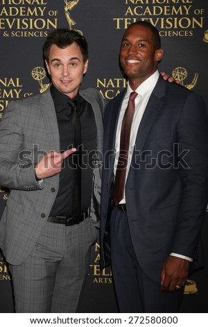 LOS ANGELES - FEB 24:  Darin Brooks, Lawrence Saint-Victor at the Daytime Emmy Creative Arts Awards 2015 at the Universal Hilton Hotel on April 24, 2015 in Los Angeles, CA - stock photo