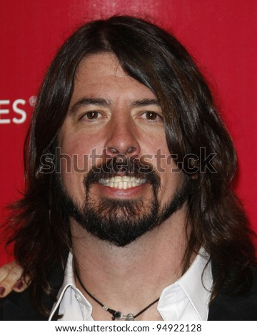 LOS ANGELES - FEB 10:  Dave Grohl arrives at the 2012 MusiCares Gala honoring Paul McCartney at LA Convention Center on February 10, 2012 in Los Angeles, CA - stock photo