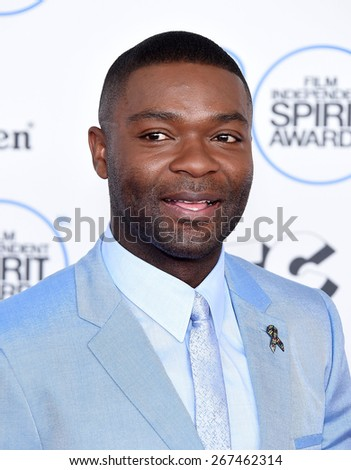 LOS ANGELES - FEB 21:  David Oleyowo arrives to the 2015 Film Independent Spirit Awards  on February 21, 2015 in Santa Monica, CA                 - stock photo