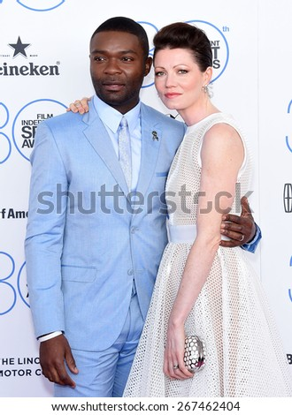LOS ANGELES - FEB 21:  David Oleyowo & Jessica Oyelowo arrives to the 2015 Film Independent Spirit Awards  on February 21, 2015 in Santa Monica, CA                 - stock photo
