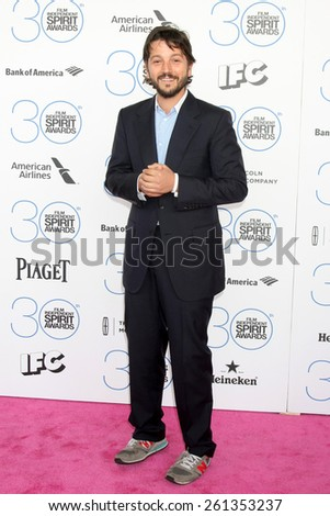 LOS ANGELES - FEB 21:  Diego Luna at the 30th Film Independent Spirit Awards at a tent on the beach on February 21, 2015 in Santa Monica, CA