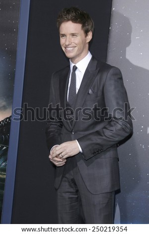 """LOS ANGELES - FEB 2:  Eddie Redmayne at the """"Jupiter Ascending"""" Los Angeles Premiere at a TCL Chinese Theater on February 2, 2015 in Los Angeles, CA - stock photo"""