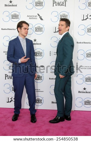 LOS ANGELES - FEB 21:  Ellar Coltrane, Ethan Hawke at the 30th Film Independent Spirit Awards at a tent on the beach on February 21, 2015 in Santa Monica, CA