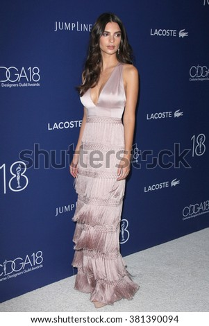 LOS ANGELES - FEB 23:  Emily Ratajkowski at the 18th Costume Designers Guild Awards at the Beverly Hilton Hotel on February 23, 2016 in Beverly Hills, CA - stock photo