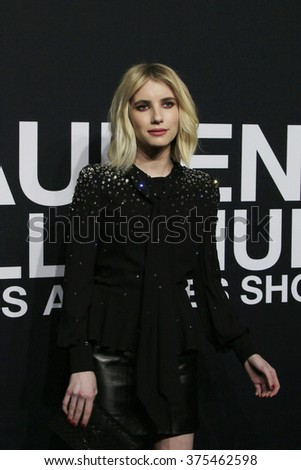 LOS ANGELES - FEB 10: Emma Roberts arriving at the Saint Laurent fashion show at the Hollywood Palladium on February 10, 2016 in Los Angeles, California - stock photo