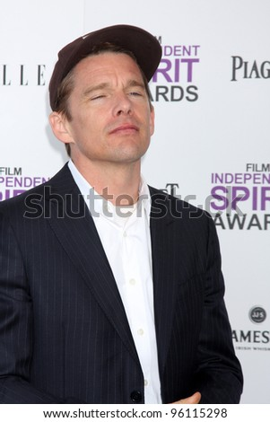 LOS ANGELES - FEB 25:  Ethan Hawke arrives at the 2012 Film Independent Spirit Awards at the Beach on February 25, 2012 in Santa Monica, CA