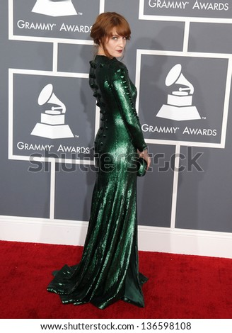 LOS ANGELES - FEB 10:  Florence Welch arrives to the Grammy Awards 2013  on February 10, 2013 in Los Angeles, CA.