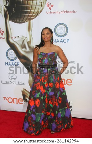 LOS ANGELES - FEB 6:  Garcelle Beauvais at the 46th NAACP Image Awards Arrivals at a Pasadena Convention Center on February 6, 2015 in Pasadena, CA - stock photo
