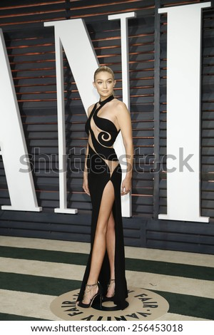 LOS ANGELES - FEB 22:  Gigi Hadid at the Vanity Fair Oscar Party 2015 at the Wallis Annenberg Center for the Performing Arts on February 22, 2015 in Beverly Hills, CA - stock photo
