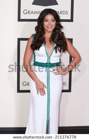 LOS ANGELES - FEB 8:  Gina Rodriguez at the 57th Annual GRAMMY Awards Arrivals at a Staples Center on February 8, 2015 in Los Angeles, CA - stock photo