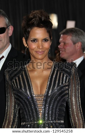 LOS ANGELES - FEB 24:  Halle Berry arrives at the 85th Academy Awards presenting the Oscars at the Dolby Theater on February 24, 2013 in Los Angeles, CA - stock photo