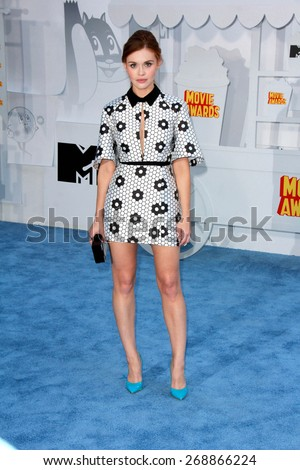 LOS ANGELES - FEB 11:  Holland Roden at the MTV Movie Awards 2015 at the Nokia Theater on April 11, 2015 in Los Angeles, CA - stock photo