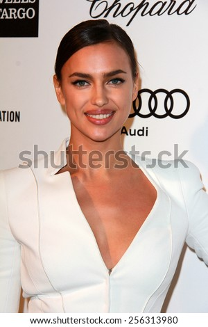 LOS ANGELES - FEB 22:  Irina Shayk at the Elton John Oscar Party 2015 at the City Of West Hollywood Park on February 22, 2015 in West Hollywood, CA - stock photo