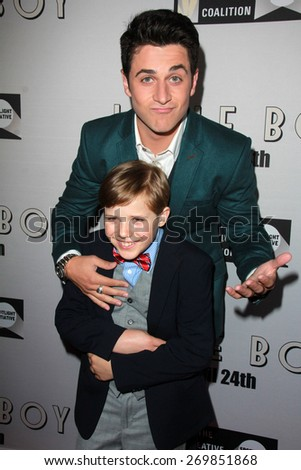"LOS ANGELES - FEB 14:  Jakob Salvati, David Henrie at the ""Little Boy"" Los Angeles Premiere at the Regal 14 Theaters on April 14, 2015 in Los Angeles, CA - stock photo"