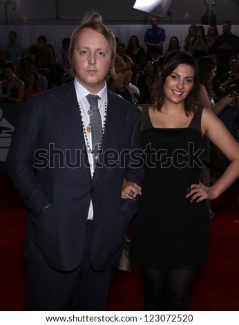 LOS ANGELES - FEB 12:  JAMES McCARTNEY & DATE arriving to Grammy Awards 2012  on February 12, 2012 in Los Angeles, CA - stock photo
