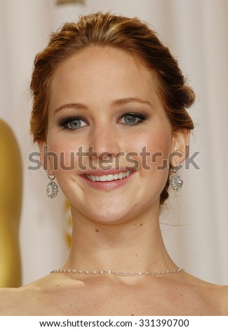LOS ANGELES - FEB 24 - Jennifer Lawrence arrives at the 85th Annual Academy Awards Press Room  on February 24, 2013 in Los Angeles, CA              - stock photo