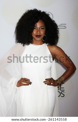LOS ANGELES - FEB 6:  Jerrika Hinton at the 46th NAACP Image Awards Arrivals at a Pasadena Convention Center on February 6, 2015 in Pasadena, CA - stock photo