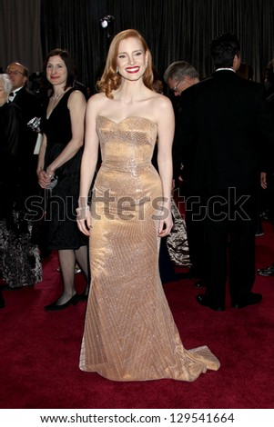 LOS ANGELES - FEB 24:  Jessica Chastain arrives at the 85th Academy Awards presenting the Oscars at the Dolby Theater on February 24, 2013 in Los Angeles, CA