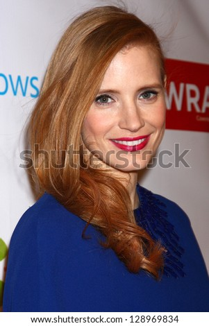 LOS ANGELES - FEB 20:  Jessica Chastain arrives at The Wrap Pre-Oscar Event at the Culina at the Four Seasons Hotel on February 20, 2013 in Los Angeles, CA - stock photo