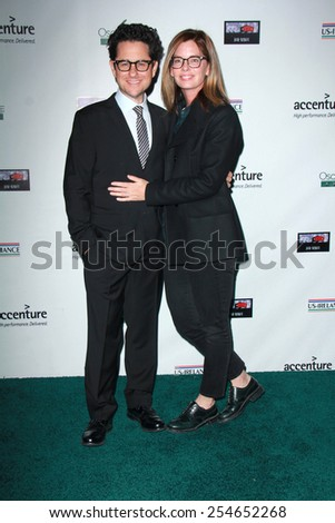 LOS ANGELES - FEB 19:  JJ Abrams, Katie McGrath at the Oscar Wilde US-Ireland Pre-Academy Awards Event at a Bad Robot on February 19, 2015 in Santa Monica, CA - stock photo