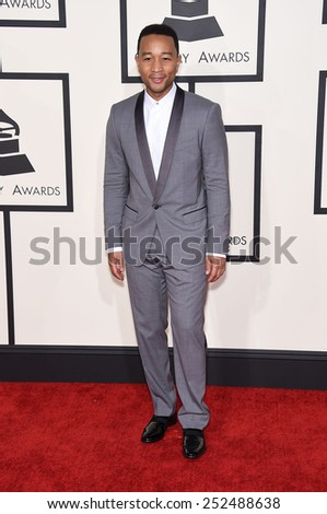 LOS ANGELES - FEB 08:  John Legend arrives to the Grammy Awards 2015  on February 8, 2015 in Los Angeles, CA                 - stock photo