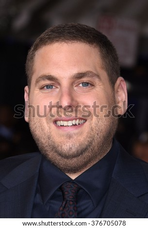 LOS ANGELES - FEB 1 - Jonah Hill arrives at the Hail, Caesar World Premiere on February 1, 2016 in Westwood, CA              - stock photo