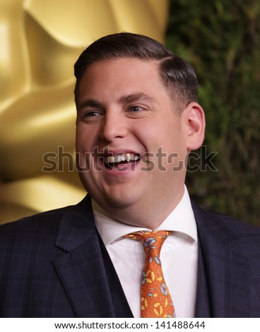 LOS ANGELES - FEB 6:  JONAH HILL arrives to the 2012 Academy Awards Nominee Luncheon  on Feb 6, 2012 in Beverly Hills, CA - stock photo