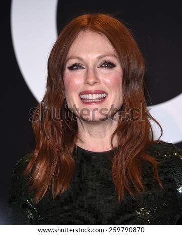 LOS ANGELES - FEB 20:  Julianne Moore arrives to the Tom Ford Autumn/Winter 2015 Womenswear Collection Presentation  on February 20, 2015 in Hollywood, CA                 - stock photo