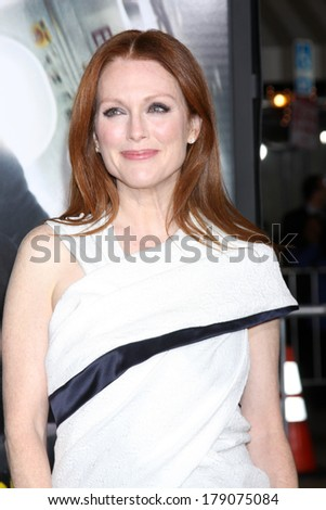 """LOS ANGELES - FEB 24:  Julianne Moore at the """"Non-Stop"""" Premiere at Village Theater on February 24, 2014 in Westwood, CA - stock photo"""