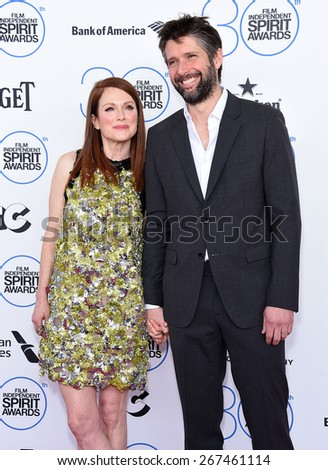 LOS ANGELES - FEB 21:  Julianne Moore & Bart Freundlich arrives to the 2015 Film Independent Spirit Awards  on February 21, 2015 in Santa Monica, CA                 - stock photo