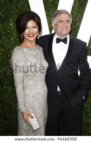 LOS ANGELES - FEB 26:  Julie Chen; Les Moonves arrive at the 2012 Vanity Fair Oscar Party  at the Sunset Tower on February 26, 2012 in West Hollywood, CA