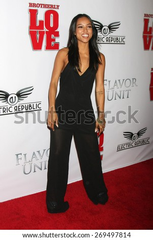 """LOS ANGELES - FEB 13:  Karrueche Tran at the """"Brotherly Love"""" LA Premiere at the Silver Screen Theater at the Pacific Design Center on April 13, 2015 in West Hollywood, CA - stock photo"""