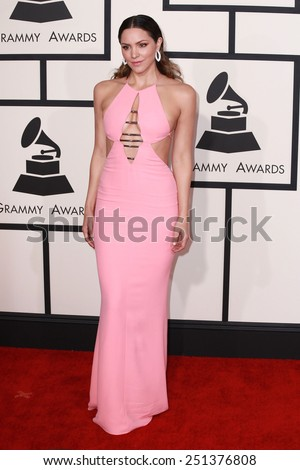LOS ANGELES - FEB 8:  Katharine McPhee at the 57th Annual GRAMMY Awards Arrivals at a Staples Center on February 8, 2015 in Los Angeles, CA - stock photo