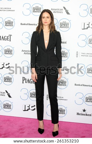 LOS ANGELES - FEB 21:  Katherine Waterston at the 30th Film Independent Spirit Awards at a tent on the beach on February 21, 2015 in Santa Monica, CA - stock photo