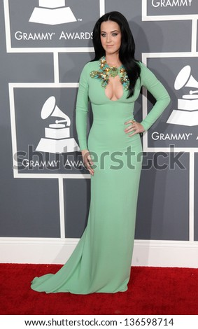 LOS ANGELES - FEB 10:  Katy Perry arrives to the Grammy Awards 2013  on February 10, 2013 in Los Angeles, CA. - stock photo