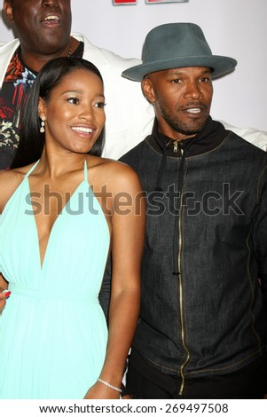 """LOS ANGELES - FEB 13:  Keke Palmer, Jamie Foxx at the """"Brotherly Love"""" LA Premiere at the Silver Screen Theater at the Pacific Design Center on April 13, 2015 in West Hollywood, CA - stock photo"""