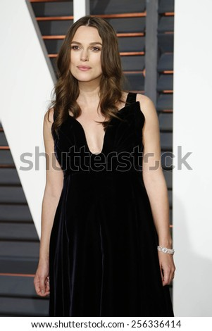 LOS ANGELES - FEB 22:  Kiera Knightley at the Vanity Fair Oscar Party 2015 at the Wallis Annenberg Center for the Performing Arts on February 22, 2015 in Beverly Hills, CA - stock photo