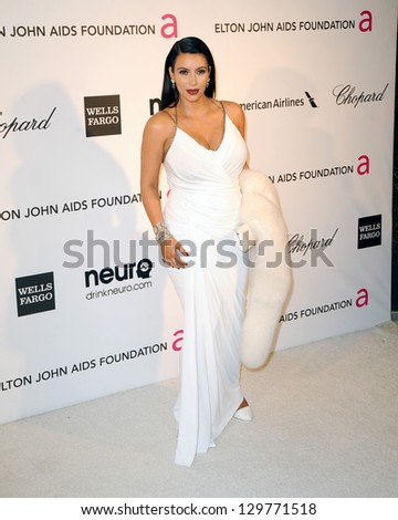 LOS ANGELES - FEB 24:  Kim Kardashian arrives at the Elton John Aids Foundation 21st Academy Awards Viewing Party at the West Hollywood Park on February 24, 2013 in West Hollywood, CA - stock photo