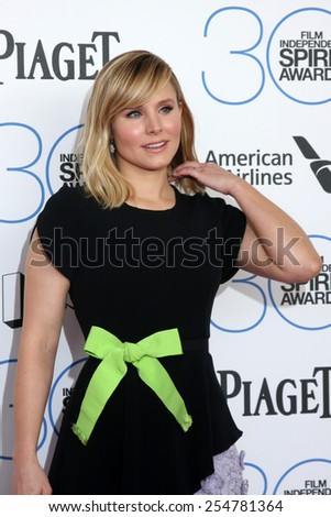 LOS ANGELES - FEB 21:  Kristen Bell at the 30th Film Independent Spirit Awards at a tent on the beach on February 21, 2015 in Santa Monica, CA - stock photo