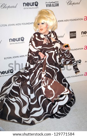 LOS ANGELES - FEB 24:  Lady Bunny arrives at the Elton John Aids Foundation 21st Academy Awards Viewing Party at the West Hollywood Park on February 24, 2013 in West Hollywood, CA - stock photo