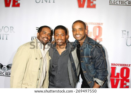 """LOS ANGELES - FEB 13:  Larenz Tate, brothers at the """"Brotherly Love"""" LA Premiere at the Silver Screen Theater at the Pacific Design Center on April 13, 2015 in West Hollywood, CA - stock photo"""