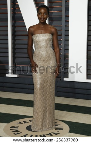 LOS ANGELES - FEB 22:  Lupita nyong'o at the Vanity Fair Oscar Party 2015 at the Wallis Annenberg Center for the Performing Arts on February 22, 2015 in Beverly Hills, CA - stock photo