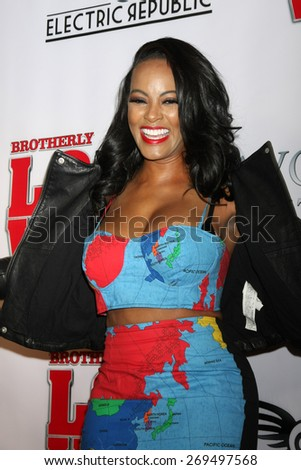 """LOS ANGELES - FEB 13:  Malaysia Pargo at the """"Brotherly Love"""" LA Premiere at the Silver Screen Theater at the Pacific Design Center on April 13, 2015 in West Hollywood, CA - stock photo"""