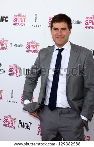 LOS ANGELES - FEB 23:  Mark Duplass attends the 2013 Film Independent Spirit Awards at the Tent on the Beach on February 23, 2013 in Santa Monica, CA