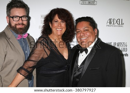 LOS ANGELES - FEB 20:  Matthew Holman, Mary Ann Valdes, Geroge Guzman at the Make-Up Artists And Hair Stylists Guild Awards at the Paramount Studios on February 20, 2016 in Los Angeles, CA