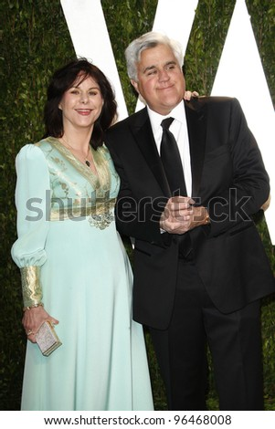 LOS ANGELES - FEB 26:  Mavis and Jay Leno arrive at the 2012 Vanity Fair Oscar Party  at the Sunset Tower on February 26, 2012 in West Hollywood, CA - stock photo