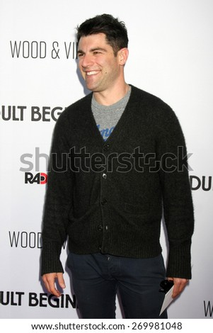 """LOS ANGELES - FEB 15:  Max Greenfield at the """"Adult Beginners"""" Los Angeles Premiere at the ArcLight Hollywood Theaters on April 15, 2015 in Los Angeles, CA - stock photo"""