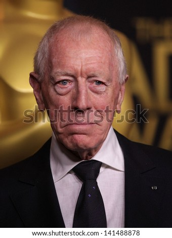 LOS ANGELES - FEB 6:  MAX VON SYDOW arrives to the 2012 Academy Awards Nominee Luncheon  on Feb 6, 2012 in Beverly Hills, CA - stock photo