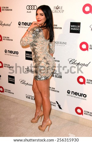 LOS ANGELES - FEB 22:  Mayra Veronica at the Elton John Oscar Party 2015 at the City Of West Hollywood Park on February 22, 2015 in West Hollywood, CA - stock photo